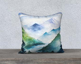 """Fjord in the Midst 18""""x18"""" Pillow Case"""