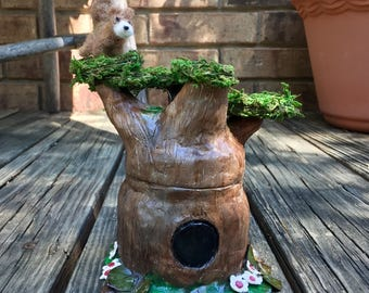 Tree Fairy Jar with Squirrel