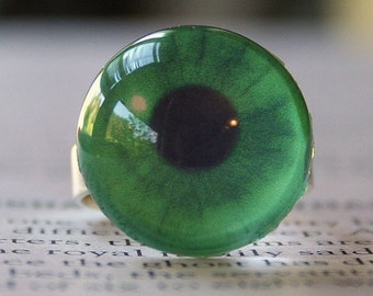 JUMP Into Spring 15 percent off sale, Acrylic Bubble Ring, GREEN EYEBALL, No. 686 by Jenifersfamilyjewels on Etsy