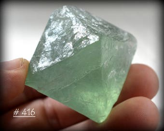 "Large Bright-Green Fluorite Octahedral ""Diamond"" Crystal The One Pictured) - Fluorite Octahedron Crystal"