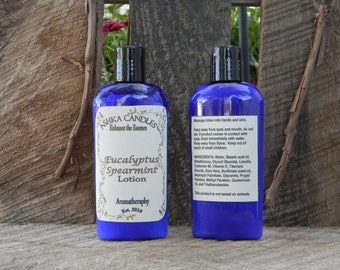 Eucalyptus Spearmint Hand Lotion! 4 oz aloe lotion, scented lotion, clean lotion, Hemp Oil lotion, aromatherapy lotion, scented hand cream