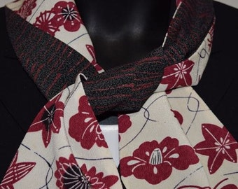 Silk Scarf Wrap Women's Vintage Japanese Kimono Fabric - Floral Fun