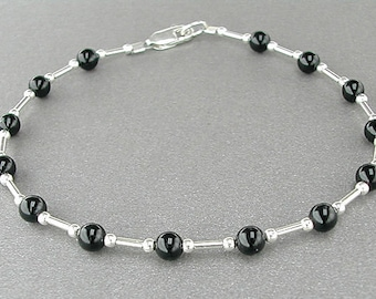 Black Onyx Anklet - Gemstone Ankle Bracelet with Sterling Silver Spacers, X-Small to Plus Size, Beach Jewelry