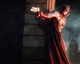 Painted Illustration Of Batman, The Caped Crusader Of Gotham City, In Action