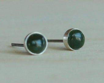 Nephrite Jade Gemstone 5mm Bezel Set on Niobium or Titanium Posts (Hypoallergenic Stud Earrings for Sensitive Ears)