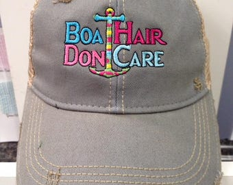 Boat Hair Don't Care Distressed Ball Cap