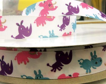 7/8 inch x 10 yards Grosgrain Ribbon..Jungle Animals--On Sale Now...FREE SHIPPING