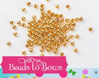 4mm Bubblegum Necklace Spacer Bead, Round Gold 4mm Bead Spacers, Chunky Necklace Supply Bead, Jewelry Finding, 4mm Metal Gold Spacer Beads