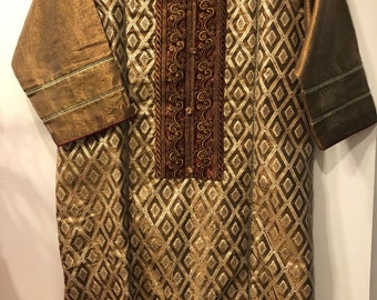 Organza shimmer/shirt/ golden brown/ embroiderd sequence work/party wear/ formal