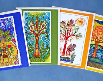 Fine Art Greeting Card Set, Magical Trees Hand Made Notes set of four, Sunseed Moonflower, Celestial, Huluppu Tree, Tree of Happiness.
