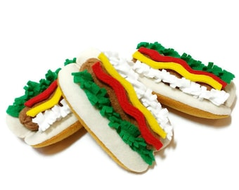 Hotdog with Bun and Toppings- fresh and felt!! eco-friendly felt play foods - washable and durable!