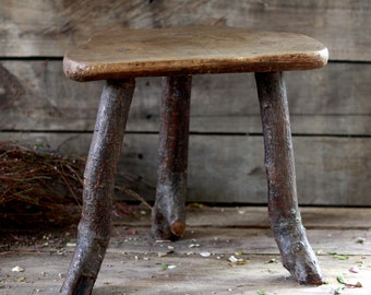 French antique primitive stool. French tree footstool. French fishing stool. Vintage seat. Stool. Footstool. Primitive seat. Stool in tree.