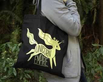 Unicorn Empire Tote Bag   Black and Gold Unicorn Tote Bag