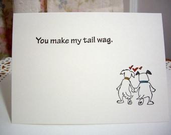 dog valentine's day card, you make my tail wag, dog valentine, dog card, i love you card, love card, happy valentine's day, anniversary card