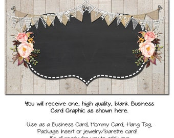 Rustic Business Card, Custom PreMade Business Cards - Rustic Romance - Etsy Custom Template Made to Made Facebook and Etsy