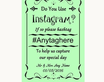 Green Instagram Photo Sharing Personalised Wedding Sign