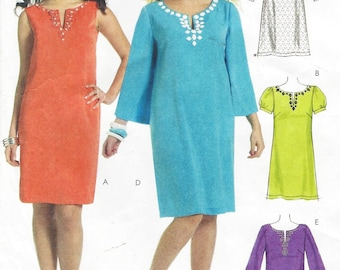 Womens A Line Embellished Dresses Sleeve Variations OOP McCalls Sewing Pattern M6117 Size 8 10 12 14 16 Bust 31 1/2 to 38 UnCut