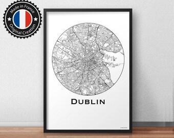 Poster Dublin Ireland Minimalist Map - City Map, Street Map