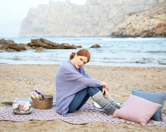 Beach blanket - Linen blanket - Pink and grey bubbles 100% linen Throw blanket - Picnic blanket
