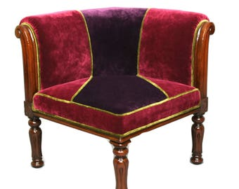 SOLD -William the IV Mahogany Corner Armchair fully restored and reupholstered