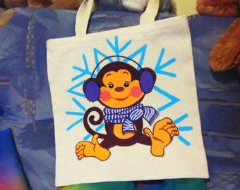 Birthday gift idea/Gift for woman/Gift for girl/Unisex gift/Handpainted monkey eco bag/Canvas bag