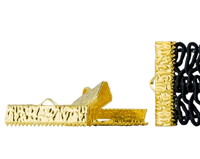 150 pieces  25mm  (1 inch)  Gold Ribbon Clamp End Crimps - with or without Loop - Artisan Series