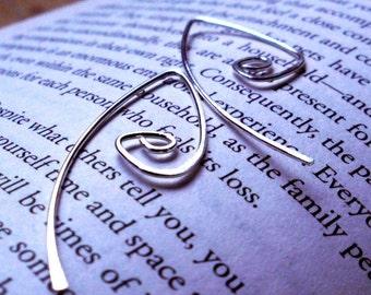 Rustic Sterling Silver Spiral Teardrop Wishbone Open Hoop Hammered Earrings