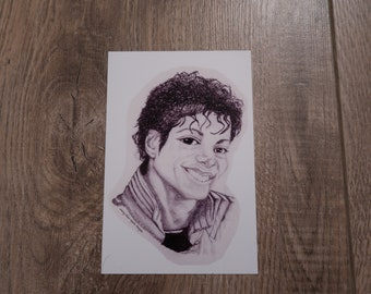 Michael Jackson, King of Pop, 80s, Pencil Portrait Sketch
