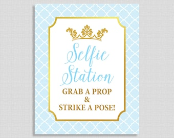Selfie Station Shower Sign, Prince Party Sign, Light Blue & Gold, Grab a Prop and Strike a Pose, Baby Boy Shower, INSTANT PRINTABLE