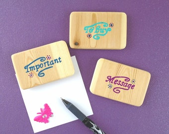 Wooden magnets (set of 3) - Set of fridge magnets with messages - Hand painted magnets - Kitchen organising accessory - Office organising