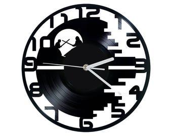 Vinyl Clock moon sized battle station, Christmas gift, Wall clock, vinyl record clock