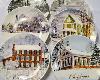 Vintage Smuckers Christmas Plate Set of 6 Collector Plates David Coolidge Winter Holiday Decor PanchosPorch