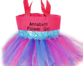 Kids Purse, Tutu Bag, Dance Bag, Blue Whimsical Ribbon Free Name Embroidered on the Bag. Personalized Girl, Ballet Bag, Dance Class Bag