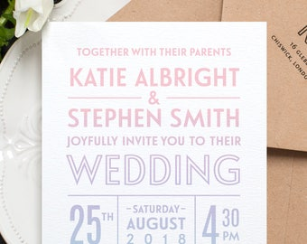 Unicorn Ombre Wedding Invitation / 'Ombré' Fun Colorful Modern Wedding Invite / Pastel Pink Lilac Light Blue / Custom Colours / ONE SAMPLE