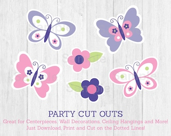 Pink Butterfly Cut Outs / Butterfly Baby Shower / Butterfly Decorations / Pink & Purple / Printable INSTANT DOWNLOAD A248
