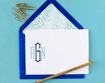 Pagoda Monogram Stationery - set of 15