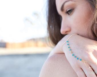 turquoise bead hand chain - bracelet- handchain