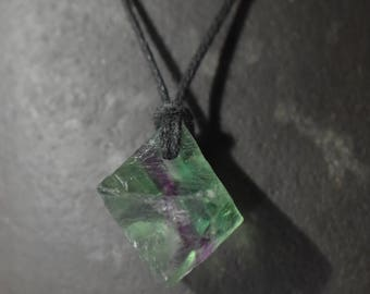Fluorite Octahedron natural crystal pendant ,Octahedron flourite pendant,Healing fluorite pendant crystal