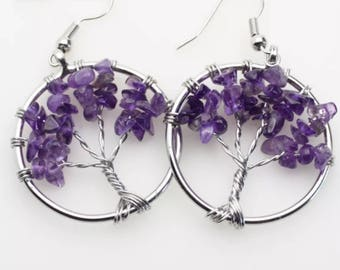 Natural Amethyst Chips Tree Of Life Dangle Earrings