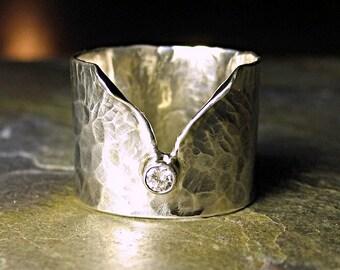 Diamant Ring Handwerker Ring Sterling Silber Breitband-Verlobungsring - Eis Flüstern