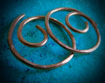 Free Shipping Item. Small Hoop Earrings. MINNIER. Swirls. Hammered Surface. 18 gauge copper wire