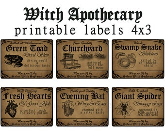Witch Apothecary Labels 4 x 3  6 potion ingredients printable - Halloween Party Decoration Birthday Favors  instant download