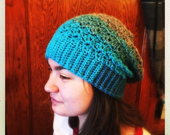 Crocheted Multi Color Blue/Grey Slouchy Hat