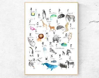 Alphabet Art, Alphabet Nursery Art, Animal Alphabet Print, Animal Letters, Watercolor ABC, Nursery Alphabet Print, ABC Poster