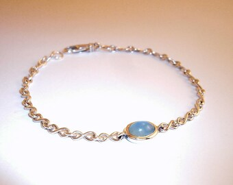 Aquamarine Bracelet Silver Bracelet infinity Sign