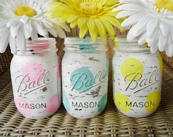 Hand Painted Mason Jars Wedding Decor/ Baby Shower Decor / Summer Spring Set / Lot of 3 Polka Dot Blue / Green GREENERY / Pink Shabby Chic