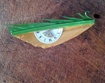 Brooch Recycling goose Feather and Dials