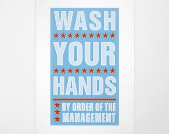 "Kids Bathroom Art, Kids Bathroom Wall Art, Wash Your Hands By Order of Management Print, 8""x14"" fits 11""x17"" frame w/o mat, Kids Wall Decor"
