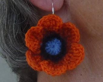 Orange poppy flower crochet earrings