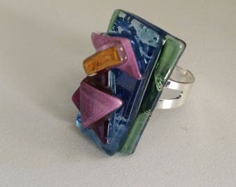 Handmade beautifull ring.Made of melted glass,fusing.Polymorphic multicolor ring.Adjustable.
